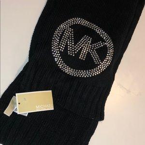 NWT Michael Kors black scarf with rhinestone logo